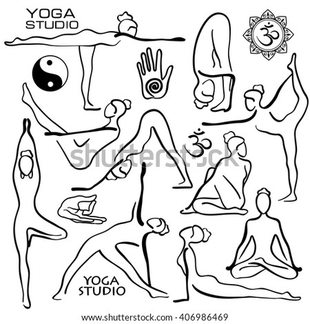 set of isolated black hand drawn outline yoga poses