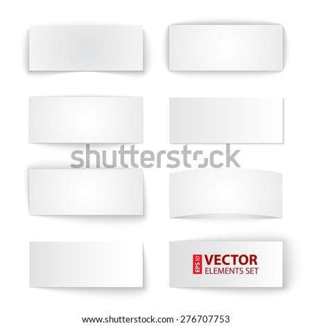 Set of isolated blank paper banners with transparent shadows on white background. RGB EPS 10 vector illustration #276707753