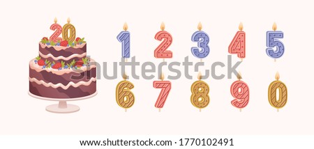 Set of isolated burning number shaped candles for celebration. Birthday chocolate cake for anniversary and candles for each year flat vector illustration on light background Foto stock ©