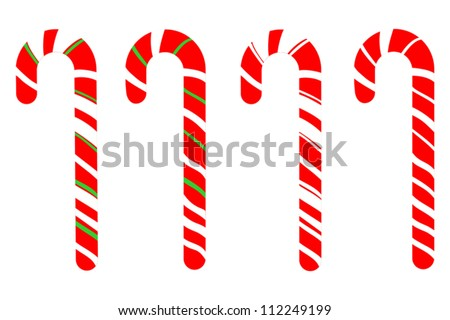 Set of Isolated Candy Canes on White Background, Vector Illustration of Christmas Candy