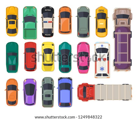 Set of isolated cars or top view on auto, police vehicle and ambulance, fuel transport truck and freight lorry, family van or minivan, sports car and electrocar. Automobile icons, autotransport