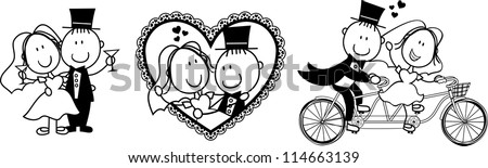 set of isolated cartoon couple scenes ideal for funny wedding invitation