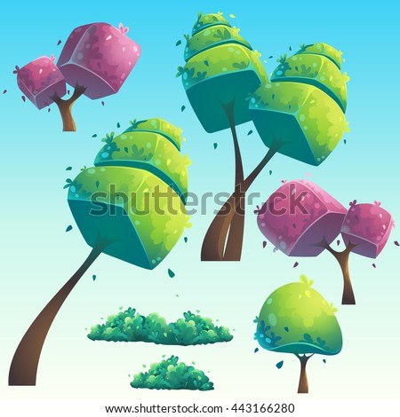 set of isolated cartoon natural
