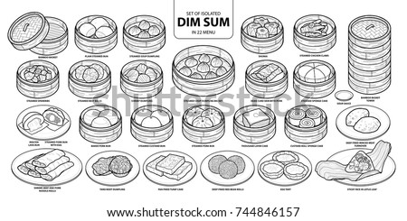 Set of isolated Chinese food, Dim Sum in 22 menu. Cute hand drawn food vector illustration in black outline and white plane on white background.