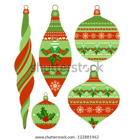 Set of Isolated Christmas Balls on White Background, Vector Version