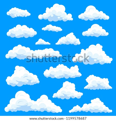 Set of isolated clouds in sky, cumulus and fluffy eddy or simple swarm at summer day, beautiful heaven. Weather forecast and skylight, nature and stratosphere theme, prognosis theme