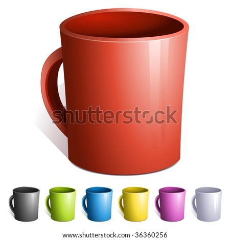 Set of isolated coffee cups. Vector Illustration