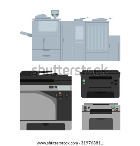 Set of isolated color laser printer in vector. Digital print machine design. Color copy document and printing equipment. Office hardware collection. Big press machine and small copier for business.