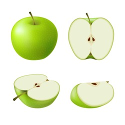 Set of isolated colored green apple half, slice and whole juicy fruit on white background. Realistic fruit collection.