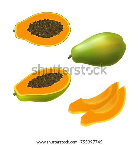 set of isolated colored papaya