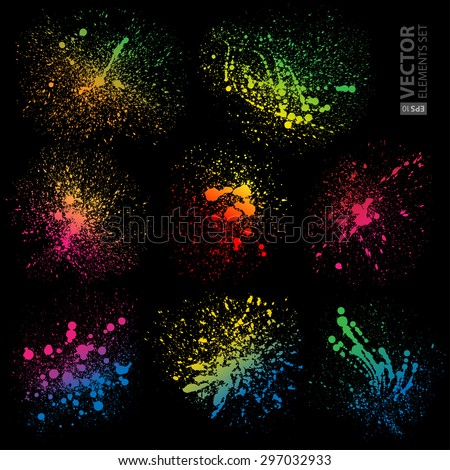 Set of 8 isolated colorful gradient rainbow grunge paint splashes on black background. RGB EPS 10 vector illustration