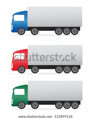 set of isolated colorful heavy truck on white background