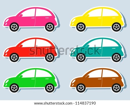 set of isolated colorful retro cars silhouettes