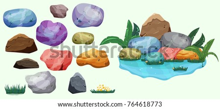 set of isolated colorful river