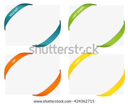 set of 4 isolated colorful