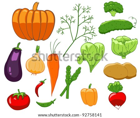 Set of isolated colorful vegetables in simple style #92758141