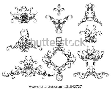 Set of isolated, copyright, stylish and filigree pattern on a white background.