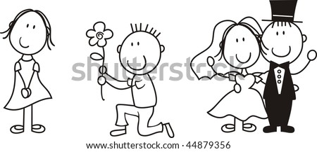 set of isolated couple cartoon, ideal for funny wedding invitation