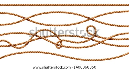 Set of isolated curvy 3d ropes. Straight and tied up sailor strings. Realistic marine cord or retro, vintage navy thread. Twisted hemp or jute nautical line with knot, intertwined loop. Whipcord