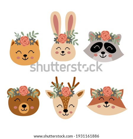 set of isolated cute animal faces with flowers