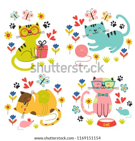 set of isolated cute cats in