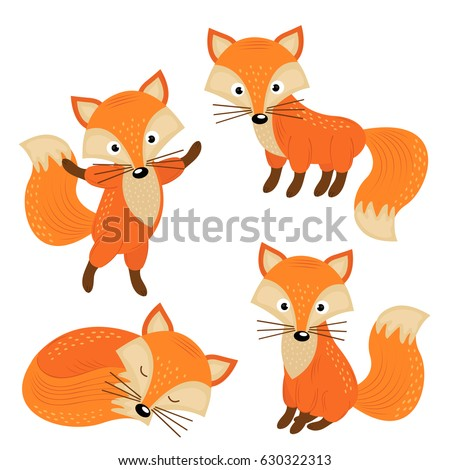 set of isolated cute foxes part 2  - vector illustration, eps