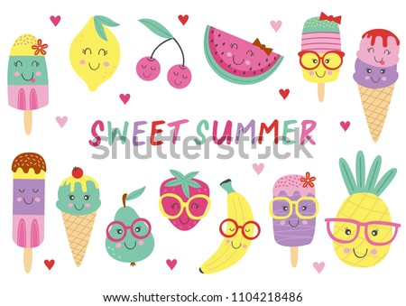 set of isolated cute ice cream and fruits