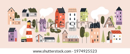 Set of isolated cute tiny houses, small buildings and trees in Scandinavian style. Trendy urban and village homes with windows, roof tiles and chimneys with smoke. Colored flat vector illustration.