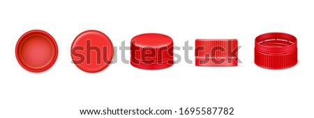 Set of isolated 3d bottle cap or vector realistic lid for water. Red beverage cover from top and bottom, side view. Design of plastic element for liquid cover. Garbage and recycle, fluid container Сток-фото ©