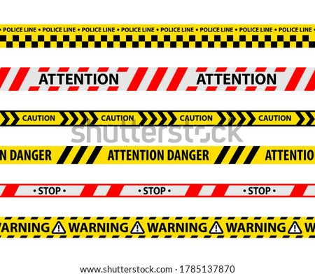 Set of isolated danger tape or yellow ribbon. Safety line or police barrier. Warning or security restriction symbol. Stop and attention, warning and forbidden restrict. Vector sign for crime caution Stock photo ©