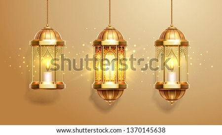 Set of isolated eastern lanterns. Arab fanous or vintage fanoos, antique glowing lamp with candle or hanging muslim light for arabic holiday. Muslim and eastern holiday theme, background objects