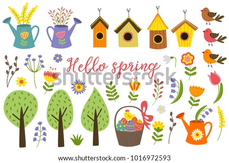 set of isolated elements of spring - vector illustration, eps