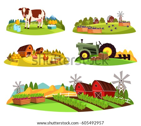 set of isolated farms at