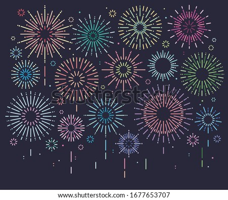 Set of isolated festive multicolored fireworks, Vector illustration, Firework show in night sky