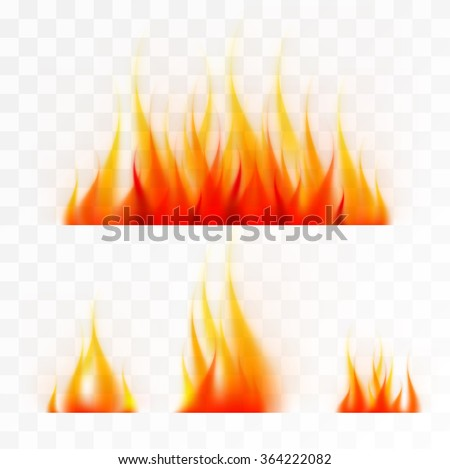 Set of isolated flames fire, good working on light background