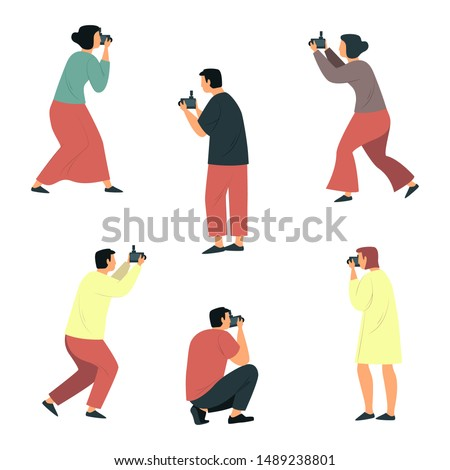 Set of isolated flat cartoon photographers. People taking photography. Man and woman paparazzi or cameraman, reporter or photojournalist. Simple character doing photography session. Photograph