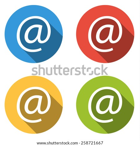 Set of 4 isolated flat colorful buttons for at at-sign with long shadow