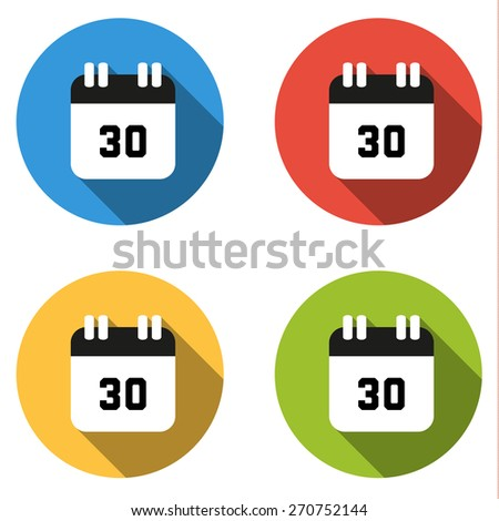 set of 4 isolated flat colorful