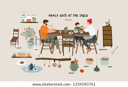 set of isolated flat vector elements: happy family eating breakfast, lunch or dinner at the table at home in the kitchen and interior objects and furniture in the living room in the apartment