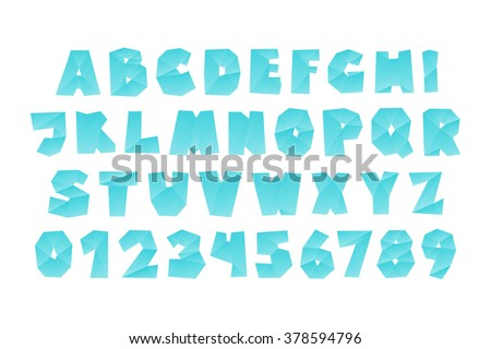 Set Of Isolated Fractal Style Origami Alphabet Letters And Numbers Vector Diamond Font