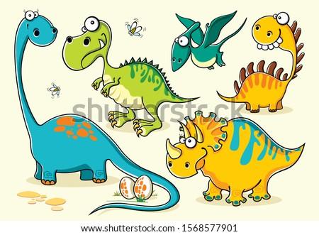 Set of isolated funny cartoon dinosaurs Stock foto ©