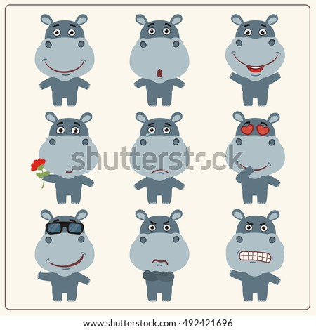 Set of isolated funny hippo in different poses in cartoon style.