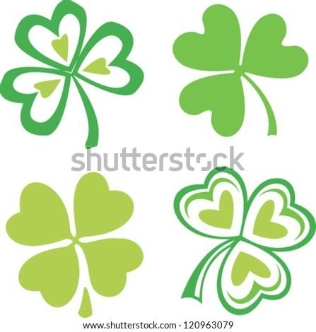 Set of isolated green Irish clovers, vector symbol of Saint Patrick's day