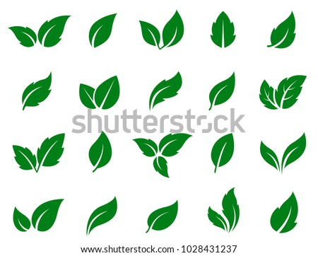 set of isolated green leaves icons on white background