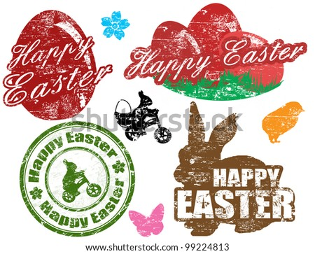 Set of isolated grunge Easter stamps on white background, vector illustration