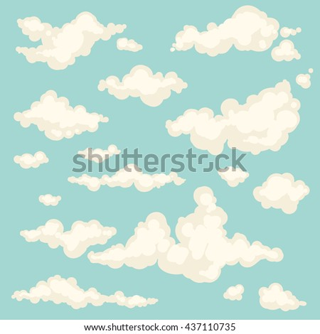 Set of isolated hand-drawn different clouds in the sky on blue background, cloudy magic heaven wallpaper. Collection of vector cloud icons and shapes.