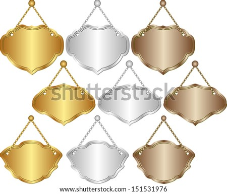 set of isolated hanging signs - gold, silver, brown