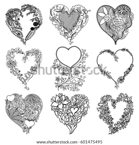 set of isolated hearts vector