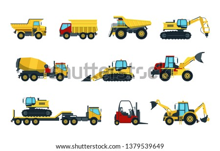 set of isolated heavy machines