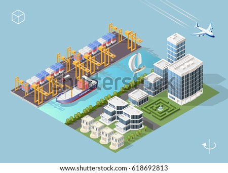 Set of Isolated High Quality Isometric City Elements . Harbor with Shadows on Blue Background